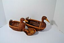 Wicker Duck Basket Lot of 3 Vintage Farmhouse Chic Wall Hanging Decor Boho EUC