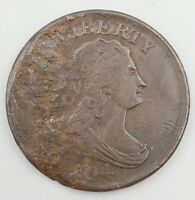 "1804 Spiked Chin Crosslet ""4"" Draped Bust Half Cent 1/2c Copper Coin"