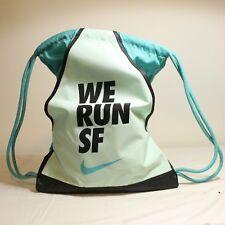 Nike We Run SF Gym Sack Bag Backpack Marathon Drawstring Blue Green Promo Rare