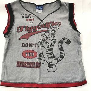 90s Y2K Disney Jerry Leigh T Shirt Tigger Pooh Athletic V-Neck Graphic Tee Large