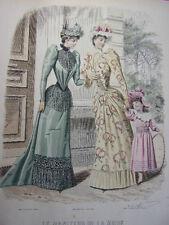 """42/ GRAVURE DE MODE """" Moniteur de la Mode Paris 1891 """".   Grand format 36x26"""