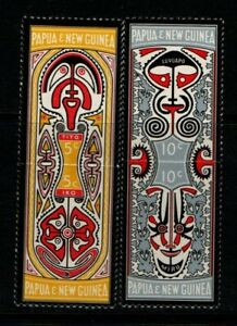 Papua New Guinea 1969 Folklore Art SG152-55 joined pairs MNH