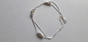 925 Sterling Silver Double Chain Heart and Ball Anklet + Gift Bag