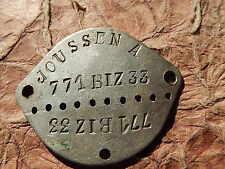 PLAQUE IDENTITE MILITAIRE  WWII BIZERTE  Fusiliers Marins