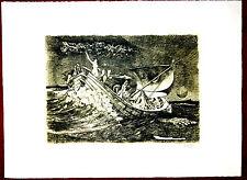 H. Anders, Lithografie, Nr.17/99 Schiff mit nackten Frauen im Sturm (Allegorie)