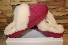 NIB UGG COZY DOUBLE DIAMOND Suede Slippers Size US 7 LONELY HEARTS PINK