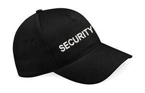 Embroidered Security Baseball Cap, Black