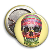 Skull - Button Badge - 25mm 1 inch - Tribal Pattern