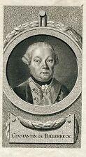 BILLERBECK - Constantin Preussischer General Portraitkupferstich um 1780 - Orig.