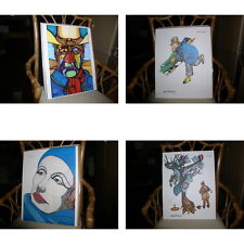 Ferdie Pacheco 4 Signed Lithographs W.C Fields The Duke John Wayne Greta Garbo