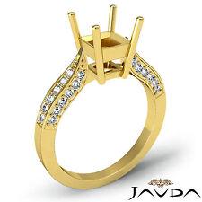 Solitaire Diamond Engagement Ring 14k Yellow Gold Princess Semi Mount 0.4 Ct.