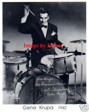 Gene Krupa Drums 8x10 B&W Publicity Photo Preprint Auto