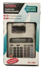1990s Aurora Pr100A Printing Calculator Big Number Lcd Display Adapter Included