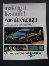 "Vtg 1967 Ad Chevrolet Chevy Impala Sport Coupe Blue GM 13.25"" x 10.25"""
