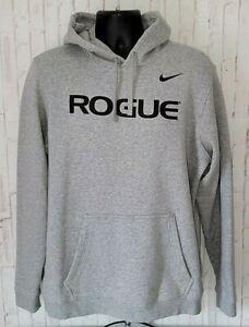 ROGUE FITNESS Nike Long Sleeve Hoodie Grey Sweatshirt - Men's Size L Large EUC