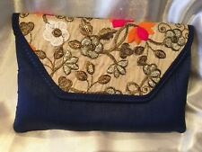 Blue Cream Pink Orange Handbag Clutch Wallet Bollywood Indian Dress Purse Silk