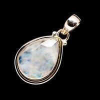 "Rainbow Moonstone 925 Sterling Silver Pendant 1 1/2"" Ana Co Jewelry P718561F"