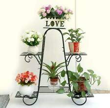 4 Tier Metal Plant Stand Support Flower Outdoors Garden Display Rack Shelf 6 Pot