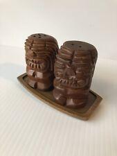 Hawaiian Tiki Carved Wood Salt & Pepper Shaker Set