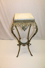 Exquisite 19th C. Victorian Brass Marble Top Lamp Table Pedestal Stand