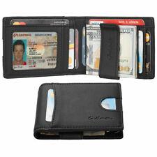 Leather Wallet Credit Card Slim Holder ID Front Pocket Money Clip RFID Blocking