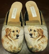 AMY JO GLADSTONE golden retriever needlepoint low heel slip on mules slippers S