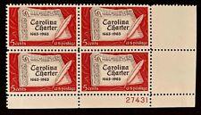 US Stamps, Scott #1230 5c 1963 Plate Block of Carolina Charter XF M/NH. Fresh