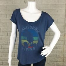 Hollister Womens Top Small California Living Mickey Mouse Silhouette Raw Hem