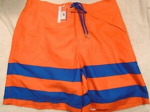 Southern Tide Orange and Blue Stripe Board Shorts Swim Trunks NWT Large $85