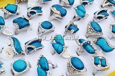 Bijoux en gros Lots 5PCS Pierre Turquoise strass anneaux unisexe