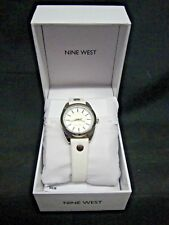 NIB! Nine West Women's White Band & Face Watch with Silver Finish - Free Ship!