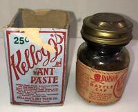 Vintage Kelloggs Ant Paste Poison Rattle Cap bottle with damaged box RARE