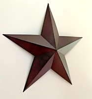"Primitive Rustic Country Home Decor- Tin Barn Star- Burgundy- 18"" or 24"""