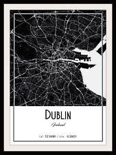 DUBLIN CITY MAP POSTER PRINT MODERN CONTEMPORARY CITIES TRAVEL IKEA FRAMES