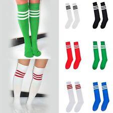 Women Girls Stripe Over Knee High Socks Football Sport Fancy Cotton Stockings