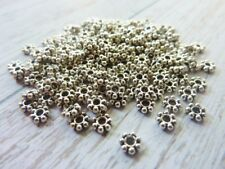 200 pce Antique Silver Daisy Spacer Beads 4mm Jewellery Making Craft