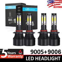 4-Side 9005 9006 Combo LED Headlight Kit High Low Beam Bulb 6000K 4800W 720000LM