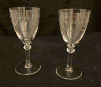 2 QUALITY VINTAGE ETCHED FRENCH APERITIF SHERRY WINE GLASS SWAGS TAILS  100 ml