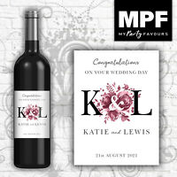 Personalised Wedding Wine Bottle Label - 5 colour options (blk)