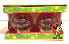 DISNEY STORE, GLASS GLOBE ORNAMENT SET, MICKEY MOUSE AND MINNIE MOUSE, 2012, NIB