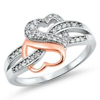 Sterling Silver 925 DOUBLE HEART LOVE DESIGN CZ PROMISE RING 12MM SIZES 4-12