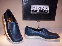 Scarpe mocassini Black Noire donna shoes women casual pelle blu nuovi new 36