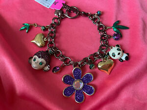 Betsey Johnson Asian Jungle Vintage Purple Monkey Panda Bear Bamboo Bracelet