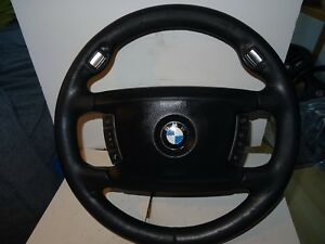 BMW 7 SERIES E65 E66 LEATHER MULTIFUNCTION STEERING WHEEL with airbag