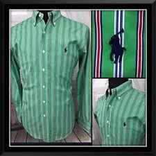 Ralph Lauren Mens Button Down Shirt Classic Oxford L/S Pony Stripe Sz Medium