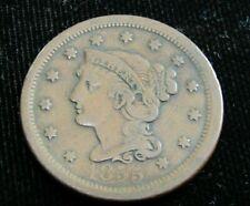 """1855 U.S. Large Cent """"Upright 5's"""" F-Vf"""