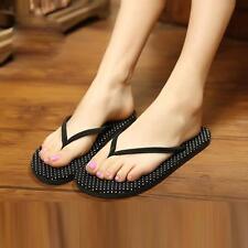 Fashion Women Summer Flat Flip Flops Sandals Polka Dot Outdoor Beach Boho Shoes