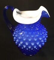 Fenton Art Glass Cobalt Blue With Milk Inlay Hobnail Pitcher