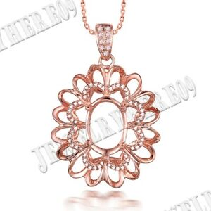 Pave Prong Setting Oval 10x7mm Natural SI/H Diamond Solid 14K Rose Gold Pendant