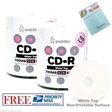 200 Pack Smartbuy White Top 52X CD-R 700MB 80Min Disc + FREE Micro Fiber Cloth